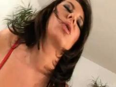 Slim brunette hottie Layla Rivera riding a monster dick on the couch