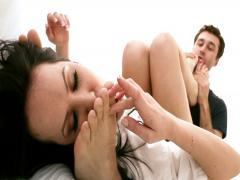 He just love to have her feet in his face & around his cock
