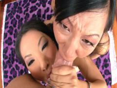 Asa Akira and Tia Ling both swallow Mike Adriano's cock