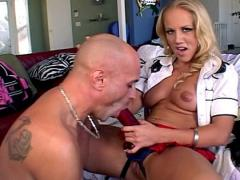 Sexy blonde slut gets her strap on sucked on then ass fucks!
